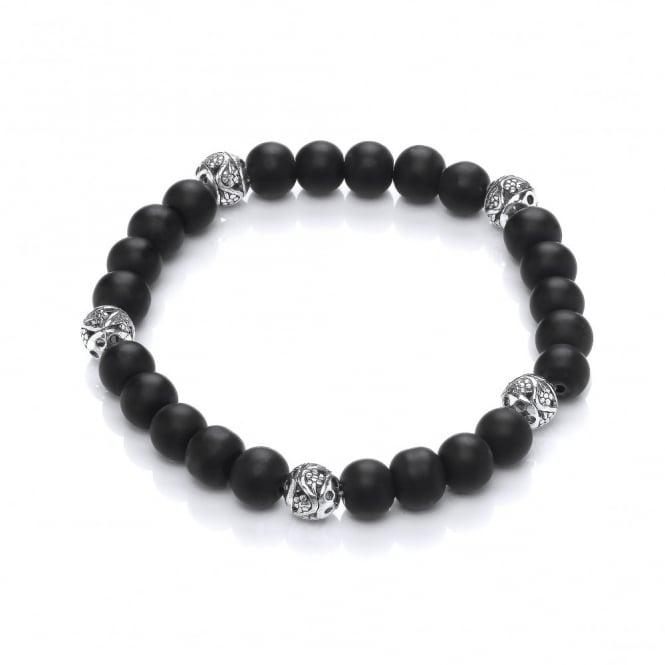David Deyong Black Onyx & Copper Beads Elastic Bracelet