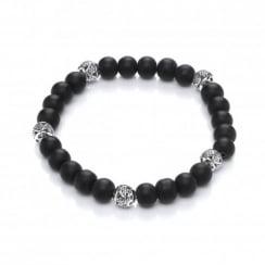 Black Onyx & Copper Beads Elastic Bracelet