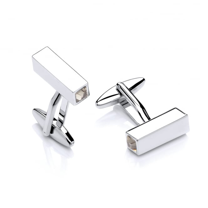 David Deyong Brass & Rhodium Plated Black Cubic Zirconia Prism Cufflinks