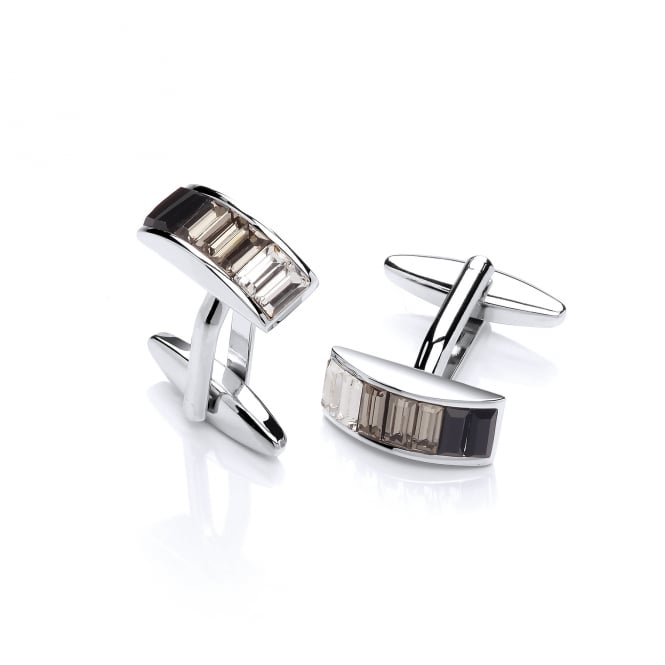 David Deyong Brass & Rhodium Plated Black Cubic Zirconia Stripes Cufflinks