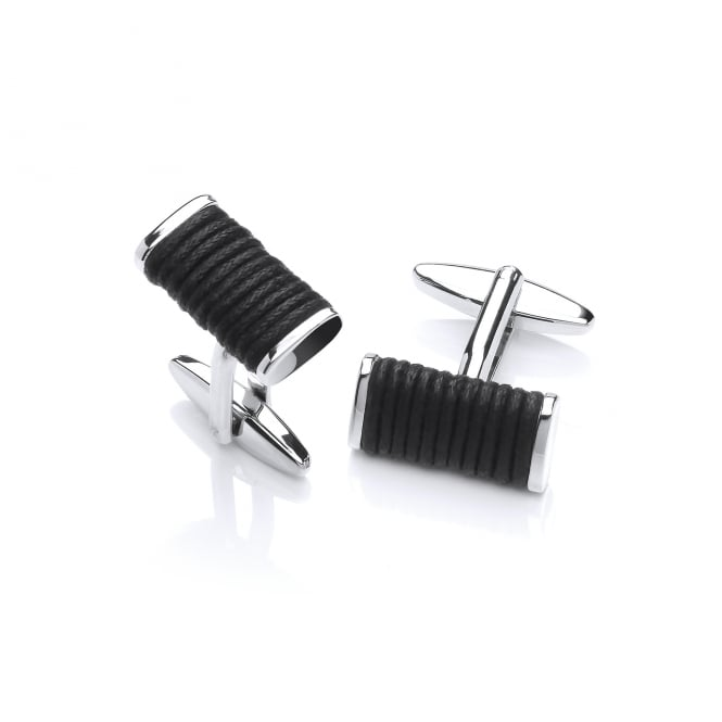 David Deyong Brass & Rhodium Plated Black Rope Cufflinks