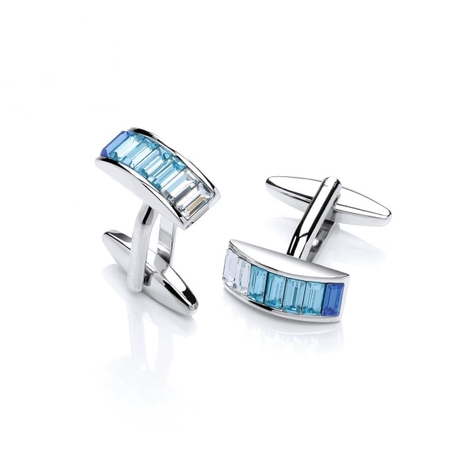 David Deyong Brass & Rhodium Plated Blue Cubic Zirconia Stripes Cufflinks