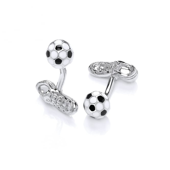 David Deyong Brass & Rhodium Plated Enamel Football Cufflinks