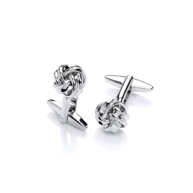 David Deyong Brass & Rhodium Plated Knot Cufflinks