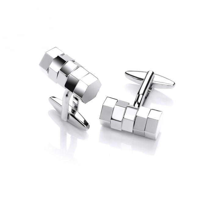 David Deyong Brass & Rhodium Plated Rolling Barrel Cufflinks