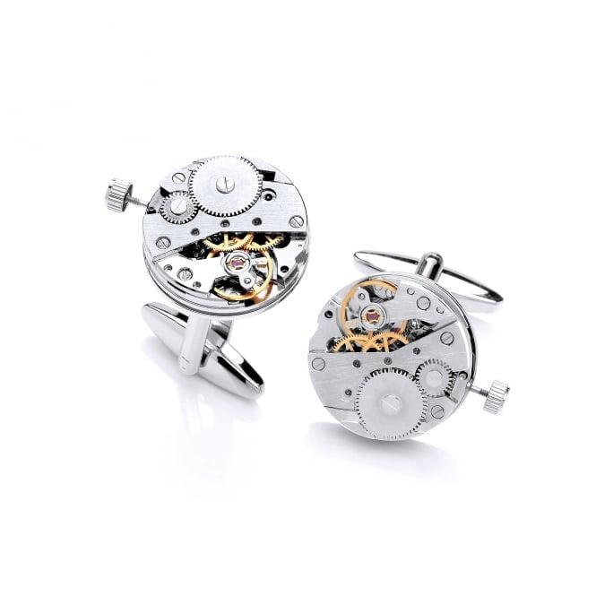 David Deyong Brass & Rhodium Plated Skeleton Watch Cufflinks