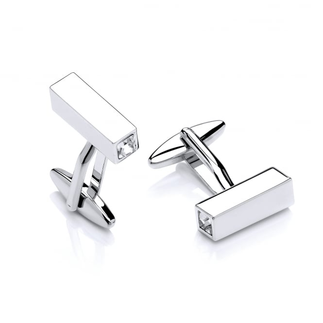 David Deyong Brass & Rhodium Plated White Cubic Zirconia Prism Cufflinks