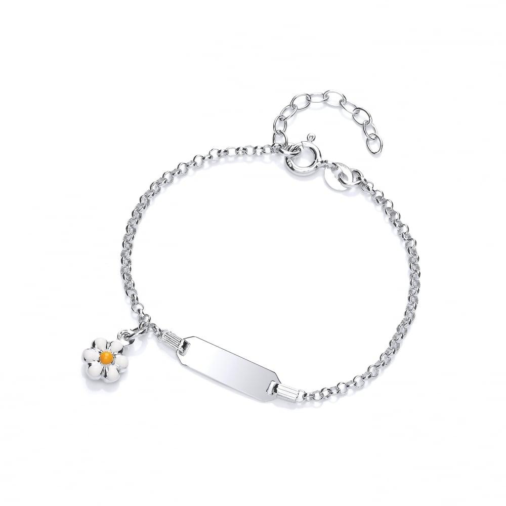 Child/'s Daisy ID Sterling Silver Bracelet