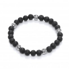 Lava Stone & Copper Beads Elastic Bracelet