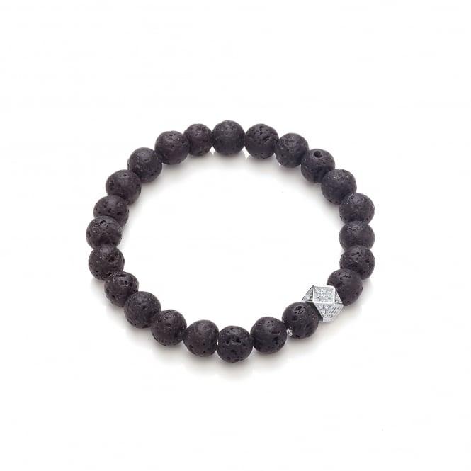 David Deyong Lava Stone & Geometric Studded Bead Elastic Bracelet