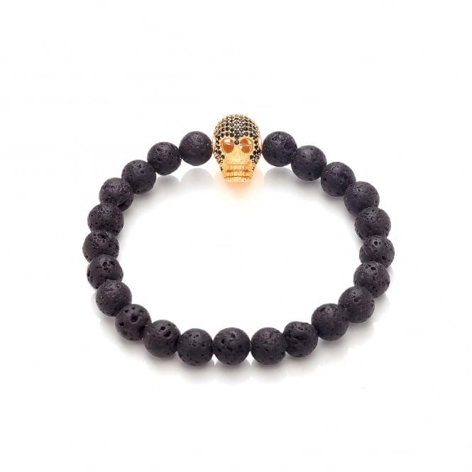 David Deyong Lava Stone & Gold Plated Skull Elastic Bracelet