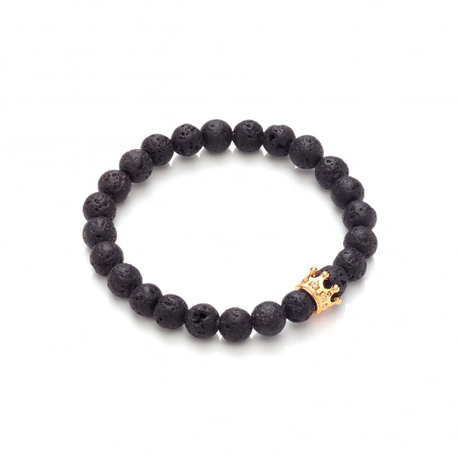 David Deyong Lava Stone & Gold Plated Small Crown Elastic Bracelet