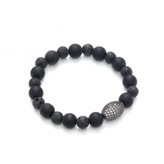 David Deyong Lava Stone & Onyx Beads with Cubic Zirconia Elastic Bracelet