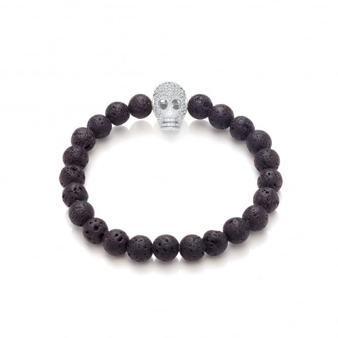 David Deyong Lava Stone & Rhodium Plated Skull Elastic Bracelet