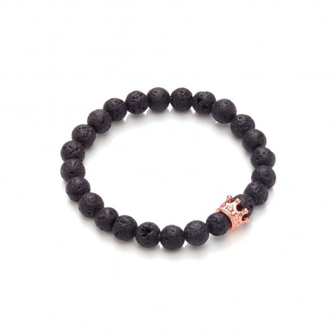 David Deyong Lava Stone & Rose Gold Plated Small Crown Elastic Bracelet