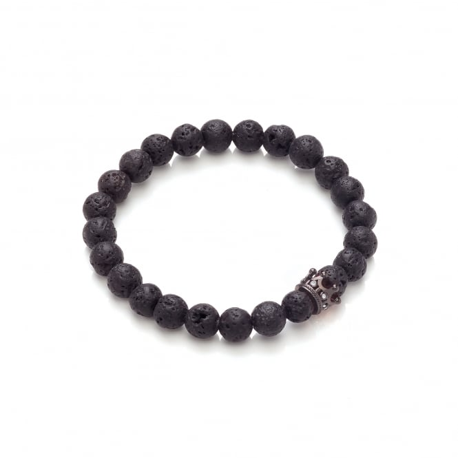 David Deyong Lava Stone & Small Black Crown Elastic Bracelet