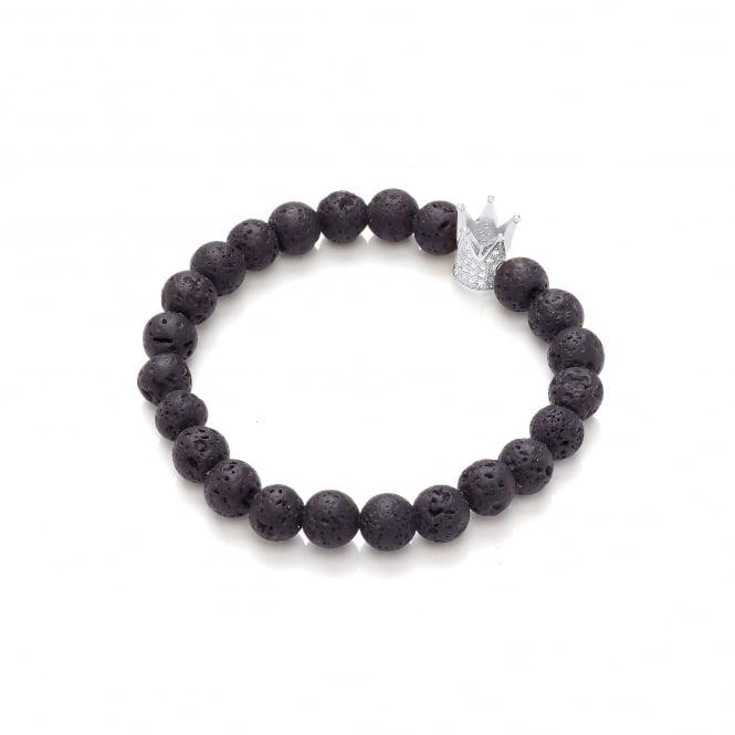 David Deyong Lava Stone & Studded Crown Elastic Bracelet