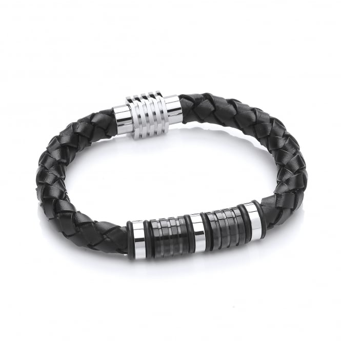 David Deyong Stainless Steel & Black Plaited Leather Bracelet