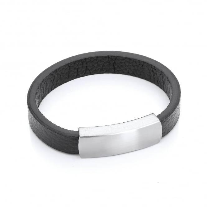 David Deyong Stainless Steel & Leather Classic Bracelet