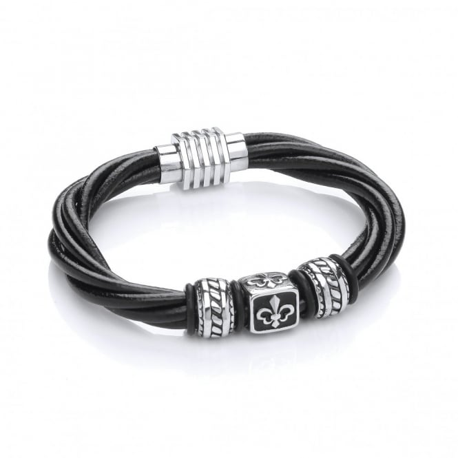 David Deyong Stainless Steel & Leather Fleur de Lis Bead Bracelet