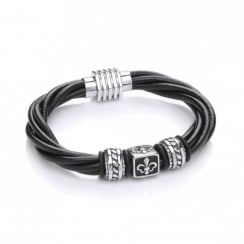 Stainless Steel & Leather Fleur de Lis Bead Bracelet