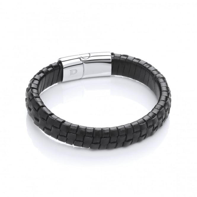 David Deyong Stainless Steel & Leather Grid Design Bracelet
