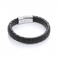 Stainless Steel & Leather Grid Design Bracelet