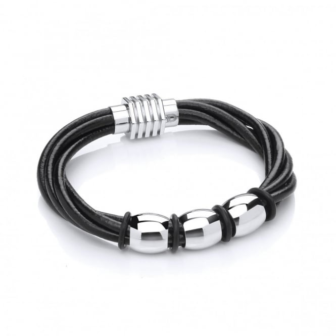 David Deyong Stainless Steel & Leather Multi Strand Bead Bracelet