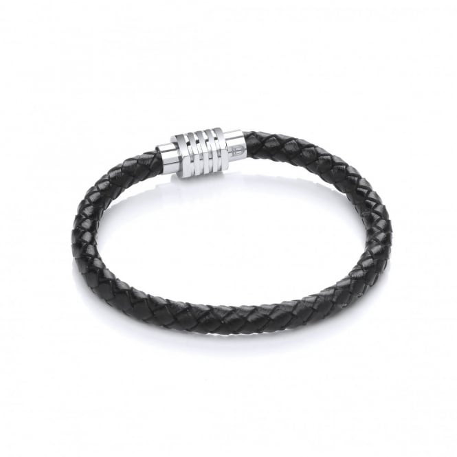 David Deyong Stainless Steel & Leather Plaided Bracelet