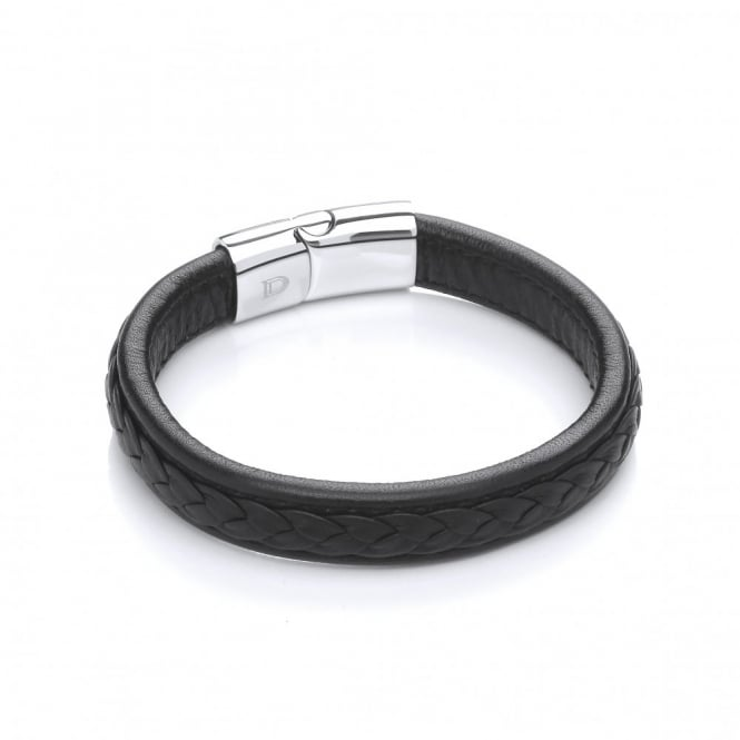 David Deyong Stainless Steel & Leather Thick Magnetic Bracelet