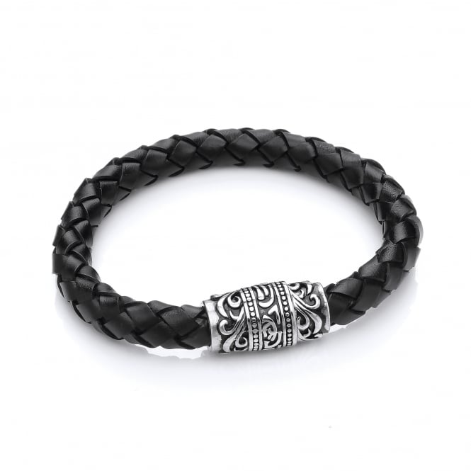 David Deyong Stainless Steel & Leather Tribal Style Bracelet
