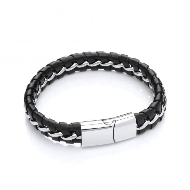 David Deyong Stainless Steel & Leather Woven Bracelet