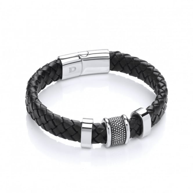 David Deyong Stainless Steel & Plaited Leather 3 Bars Bracelet