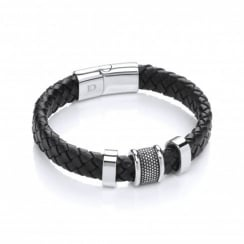Stainless Steel & Plaited Leather 3 Bars Bracelet