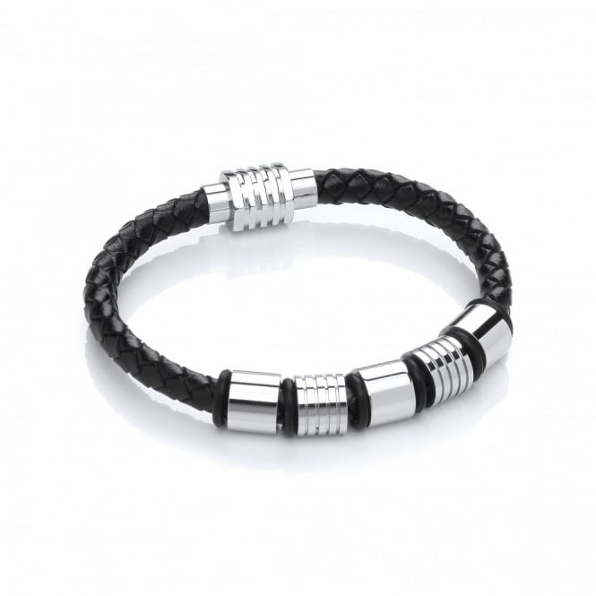 David Deyong Stainless Steel & Plaited Leather 5 Bars Bracelet