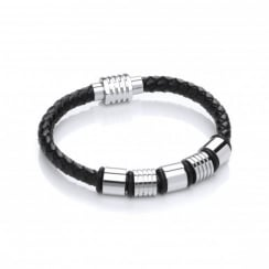 Stainless Steel & Plaited Leather 5 Bars Bracelet