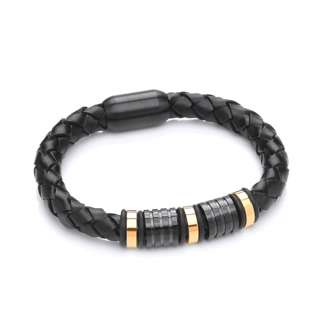 David Deyong Stainless Steel & Plaited Leather Two Tone Bracelet