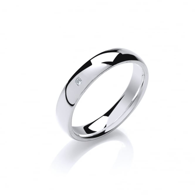 David Deyong Sterling Silver 4.5mm Round Band with Diamond