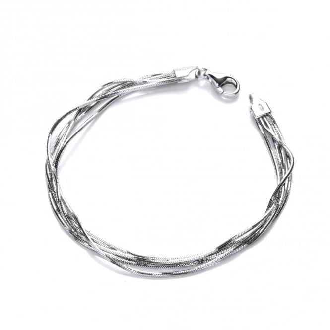 David Deyong Sterling Silver 5 Lines Snake Chain Bracelet