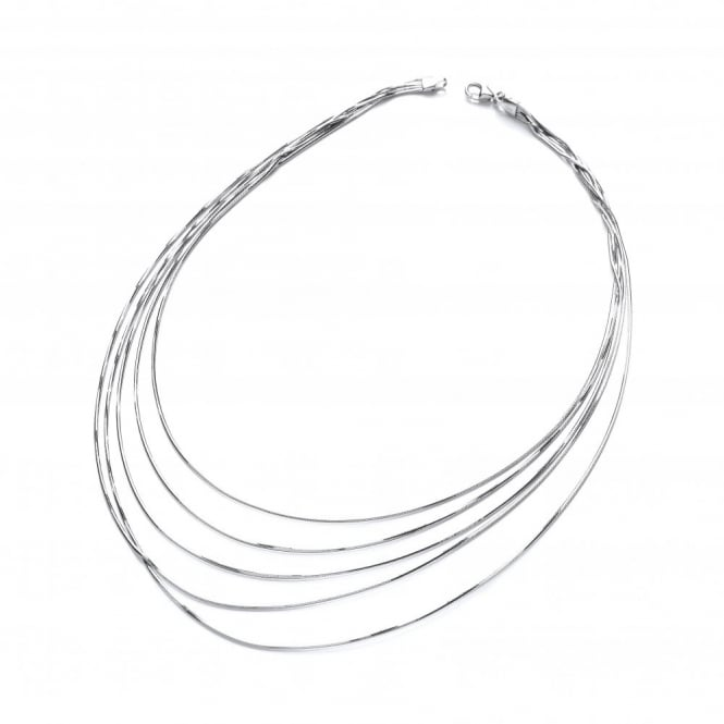 David Deyong Sterling Silver 5 Lines Snake Chain Necklace