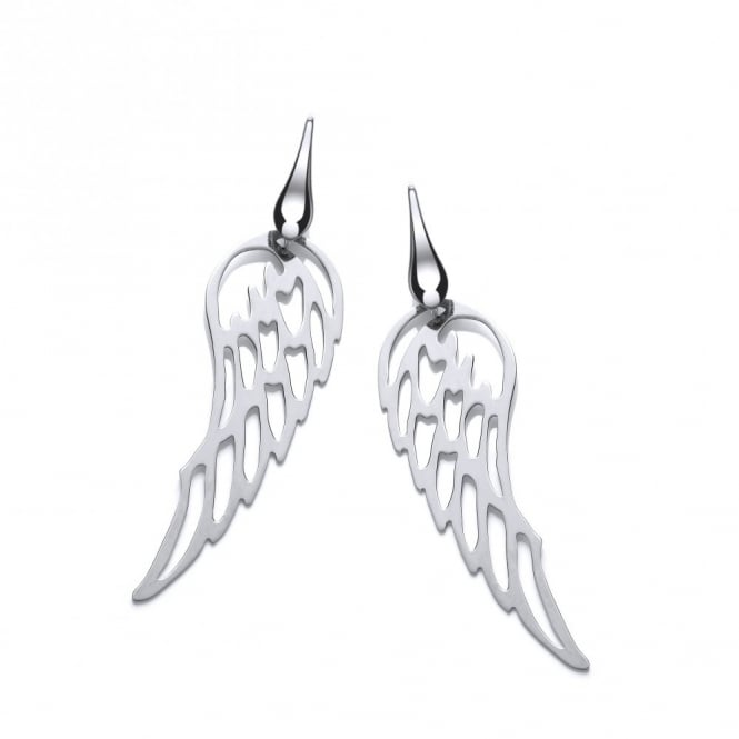David Deyong Sterling Silver Angel Wings Drop Earrings