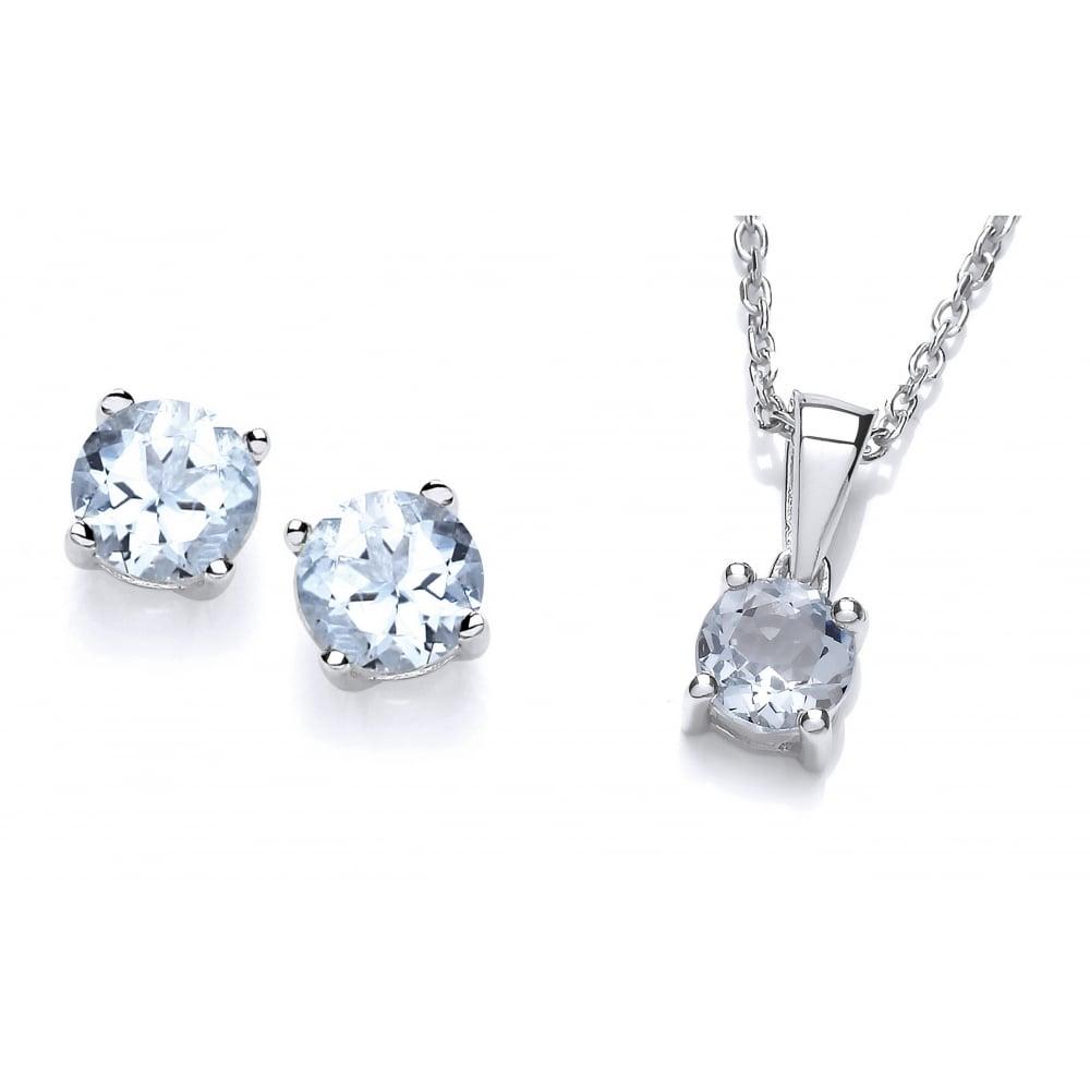 35b6944e816b Sterling Silver Aquamarine Necklace   Earrings Set by David Deyong