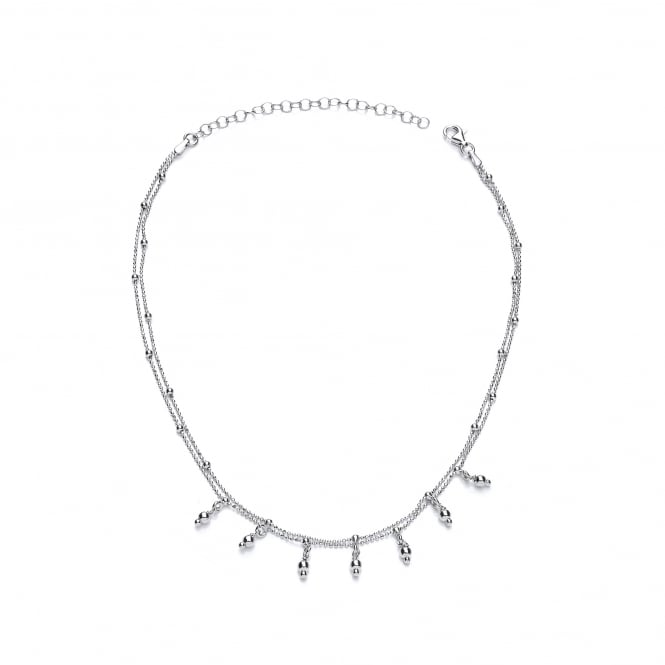 David Deyong Sterling Silver Ball Chain & Charms Choker Necklace