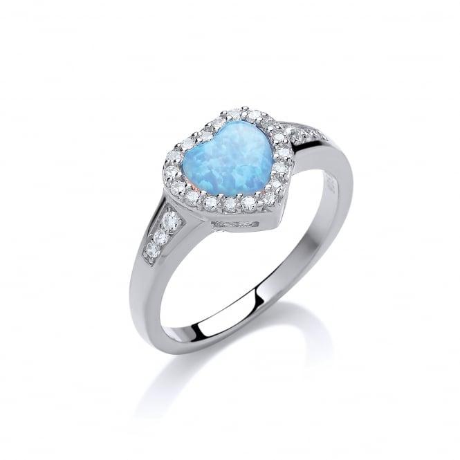 David Deyong Sterling Silver & Blue Opal Classic Heart Ring