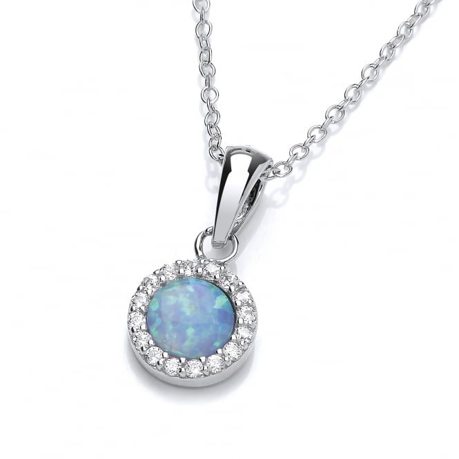 David Deyong Sterling Silver & Blue Opal Classic Round Pendant & Chain