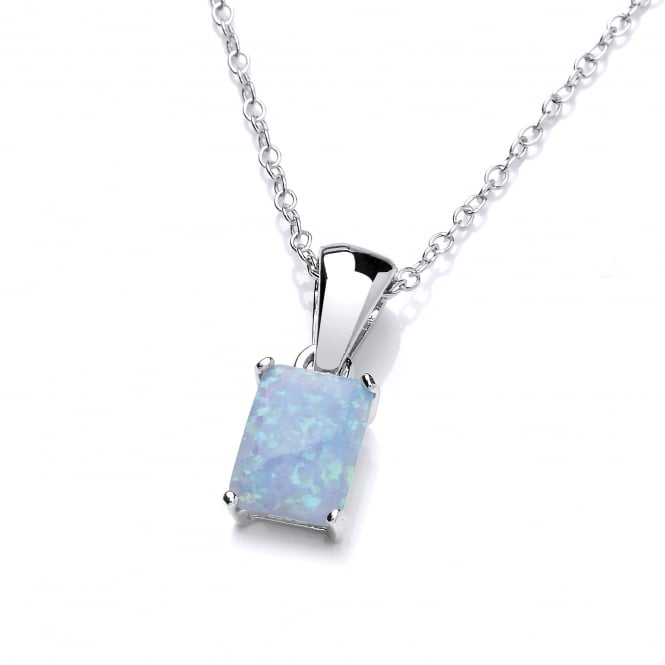 David Deyong Sterling Silver & Blue Opal Classic Square Claw Set Pendant & Chain