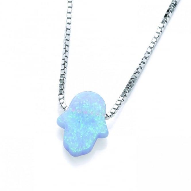 David Deyong Sterling Silver & Blue Opal Hamsa Hand Necklace