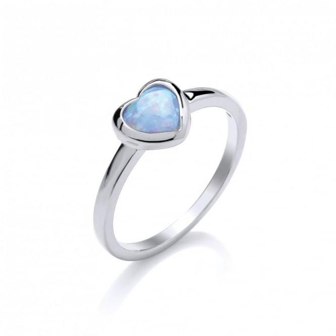 David Deyong Sterling Silver & Blue Opal Heart Ring