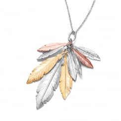 Sterling Silver Bunch of Feathers Necklace