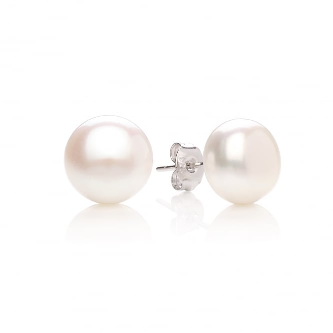 David Deyong Sterling Silver & Button Pearl 10mm Stud Earrings